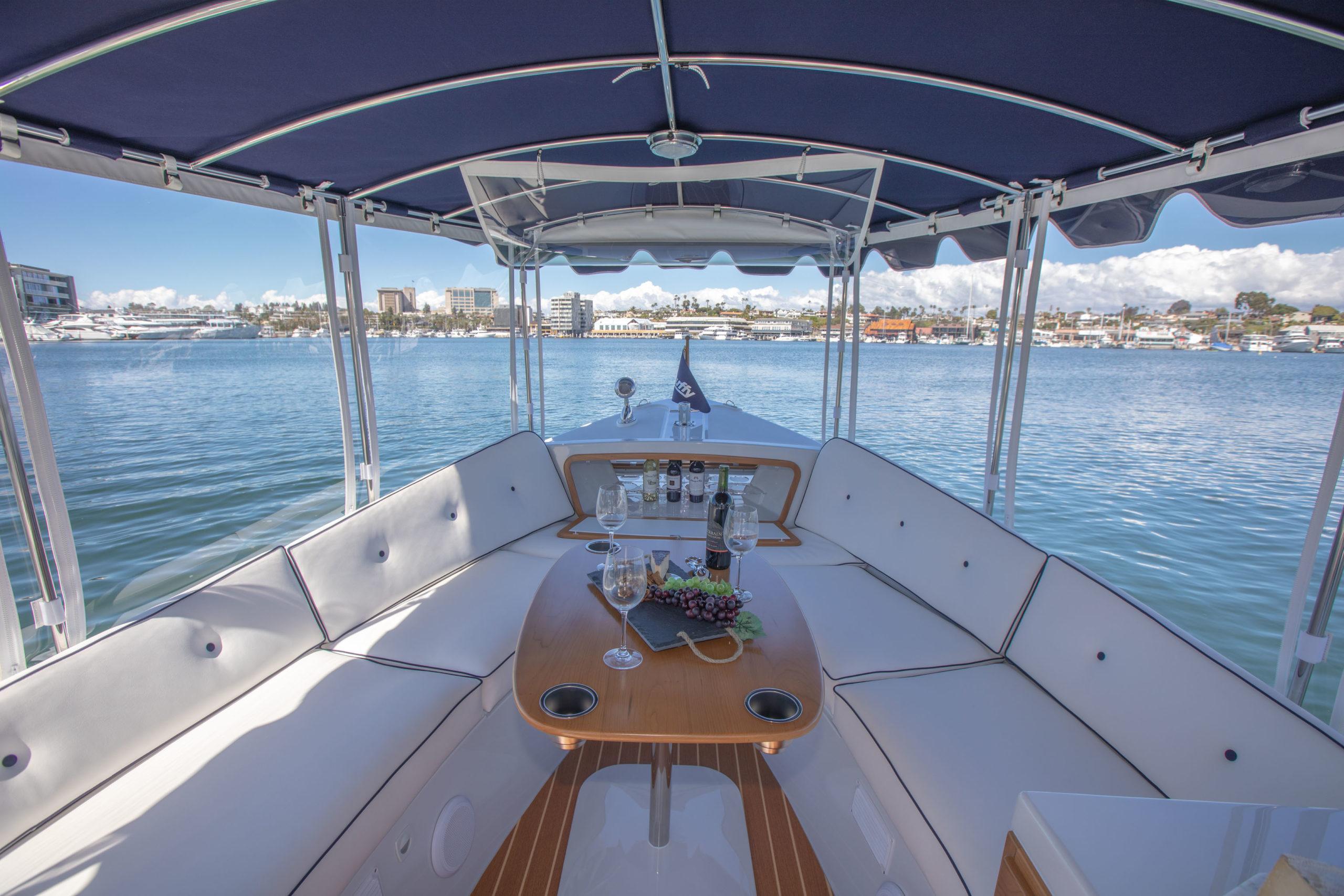 Photo of 2020 Duffy Electric Boat 22 Sun Cruiser forward interior.