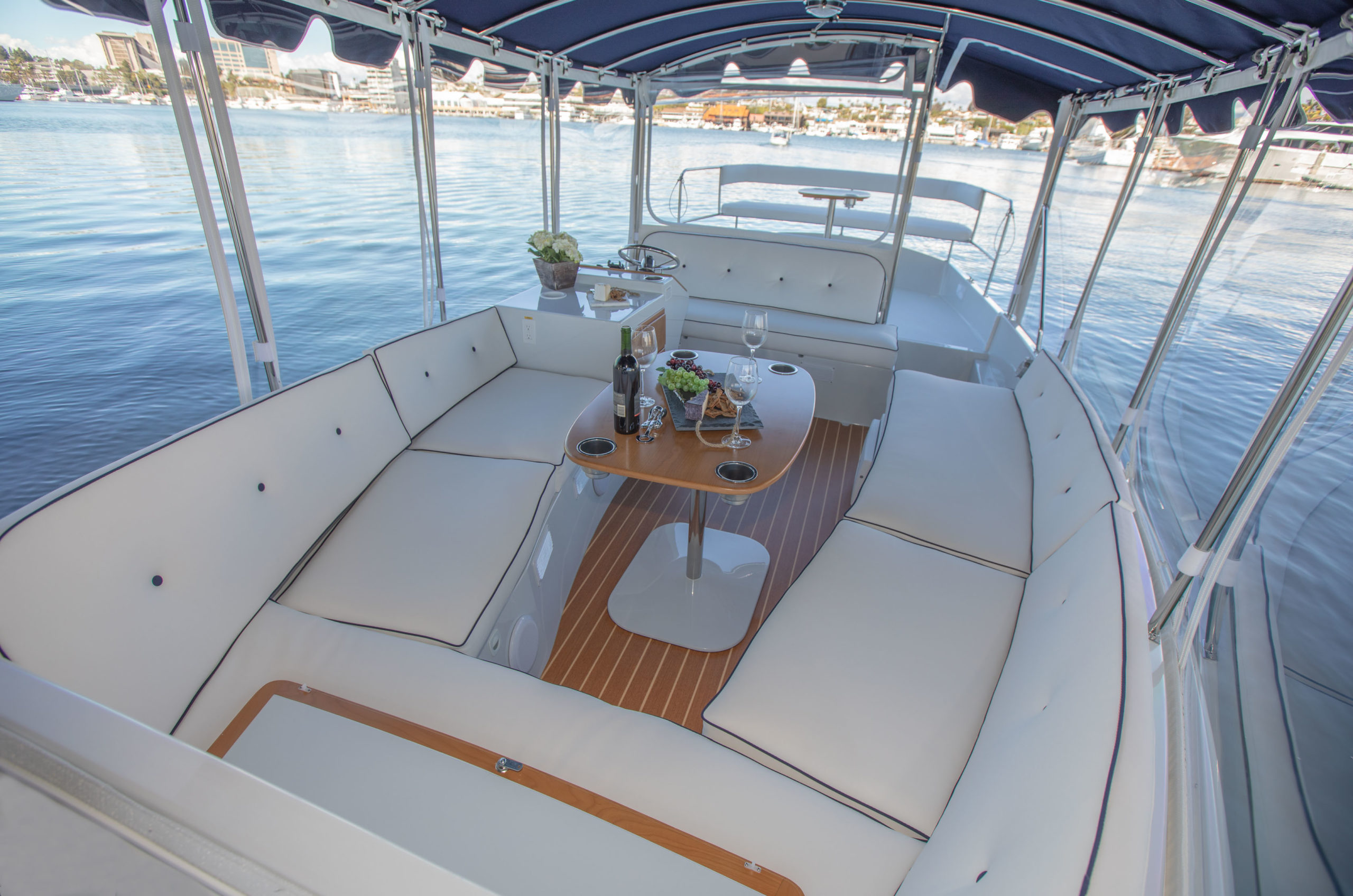 Photo of 2020 Duffy Electric Boat 22 Sun Cruiser looking aft from forward deck.