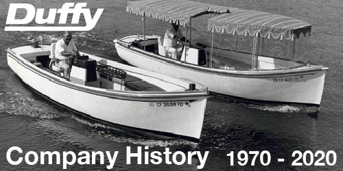 Thumbnail showing black and white photo of 2 Duffy Electric Boats from the early 1970's. Used as a thumbnail to click on and open the Duffy Boats 50 year anniversary presentation.
