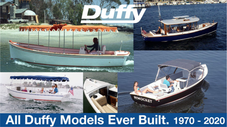 Thumbnail showing various different models of Duffy Electric Boats. Photo links to a presentation of every different model Duffy Electric Boats has made throughout its 50 year history.